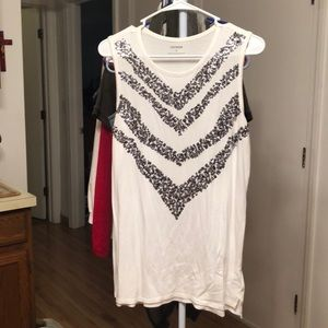 Sequined long express tank top